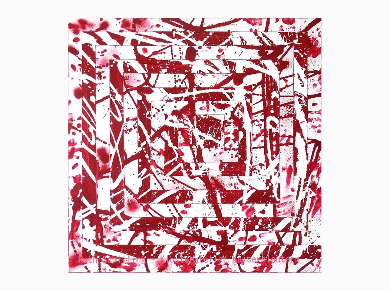 Mäander Rot Gemälde Acry auf Leinwand