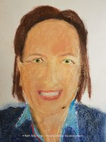 Ruth Schilling, Künstlerin aus Kaiserslautern, Selbstportrait, Pastellkreide auf Karton