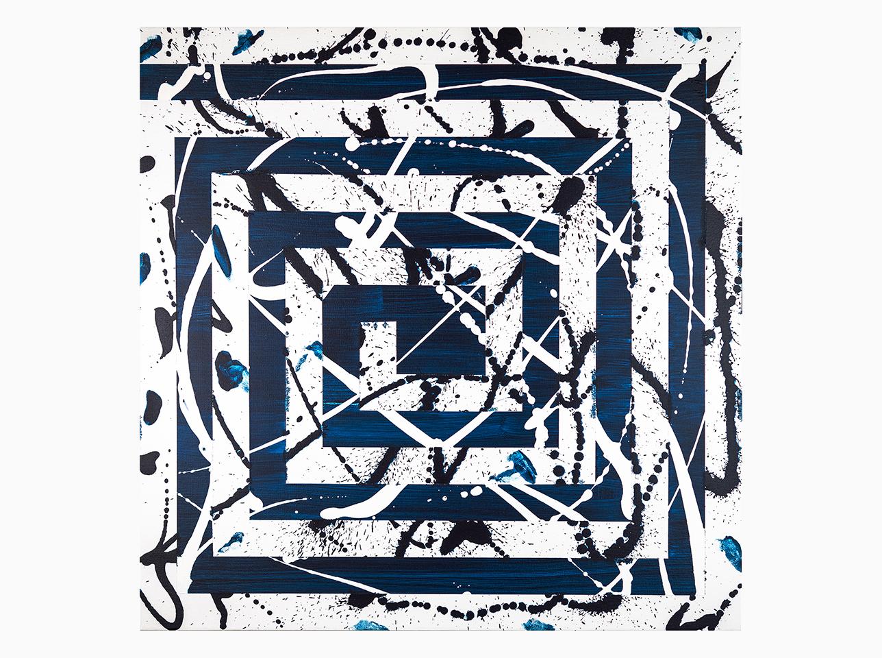 Gemälde Leinwand auf Acryl mit dem Titel Mäander Blau von Ruth Schilling