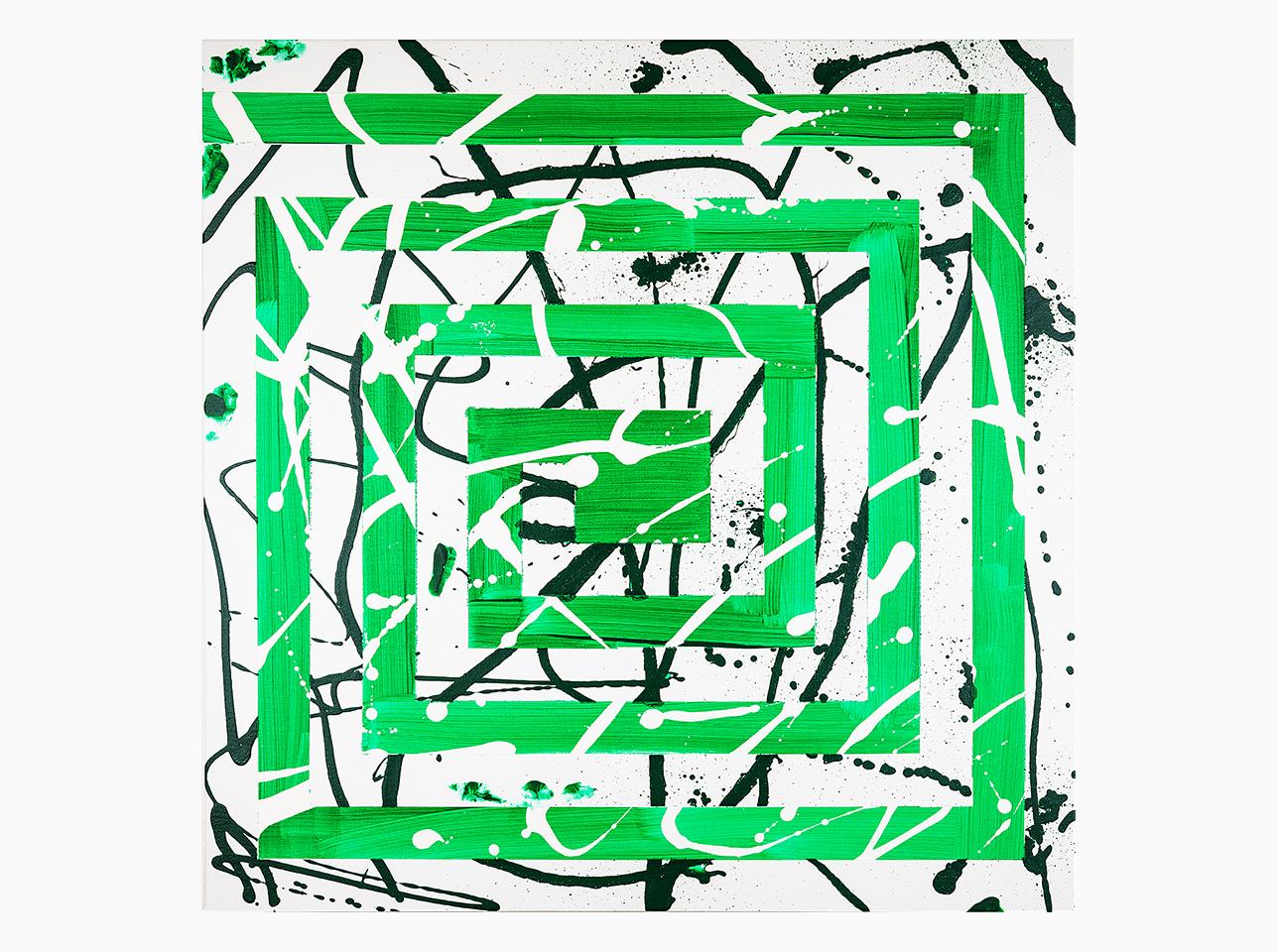 Mäander Grün abstraktes Gemälde von Ruth Schilling