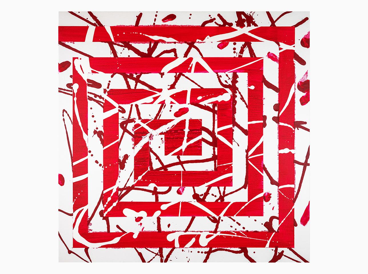 Gemälde Mäander Rot von Ruth Schilling